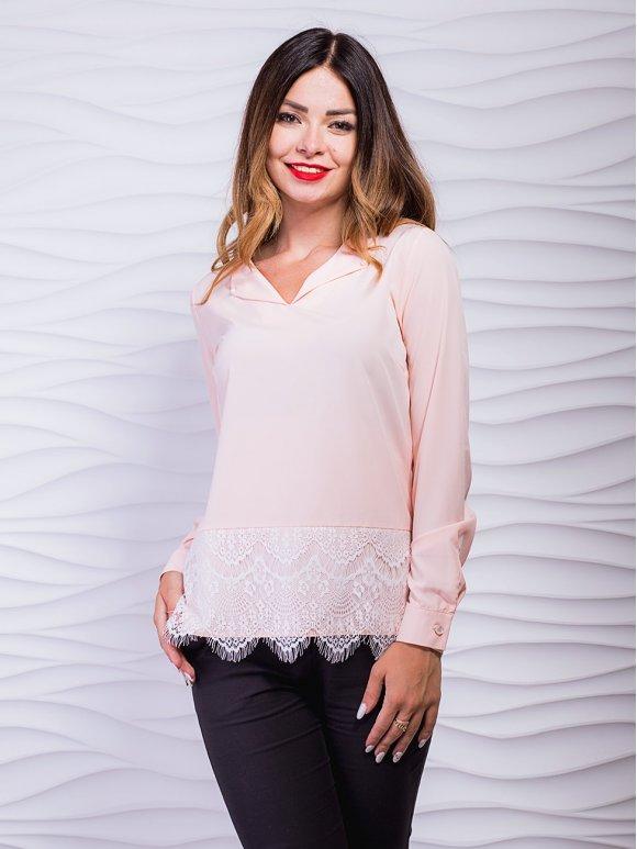 Легкая блуза с нежным кружевом по низу. Арт.2397
