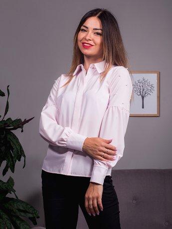 Нарядная блуза с рукавами-фонариками, украшена россыпью жемчуга. Арт.2396