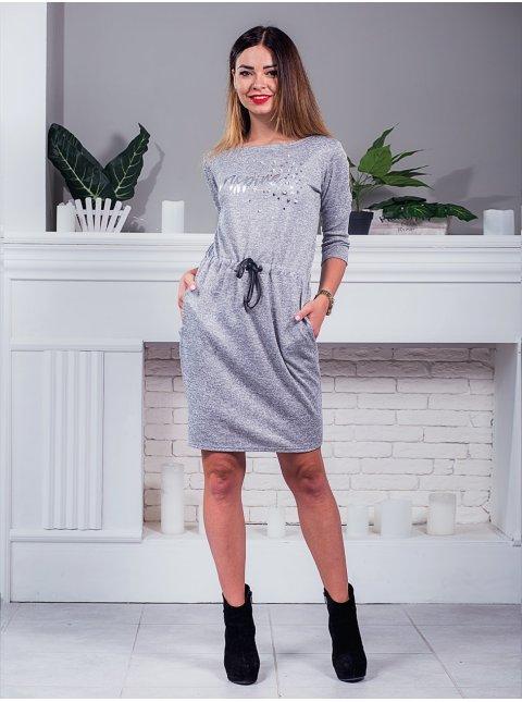 Платье на кулиске с принтом и жемчугом. Арт.2436