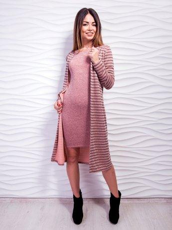 Комплект: кардиган із тканини в смужку + приталена сукня з четвертним рукавом. Арт.2471
