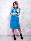Оригинальное платье-рубашка с карманами и кулиской. Арт.2449