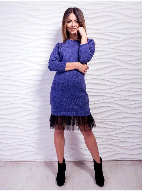 Трендовое платье, украшено евросеткой по низу. Арт.2452