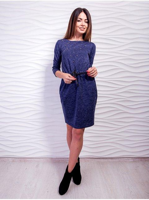 Модное платье на кулиске, украшенное жемчугом. Арт.2030