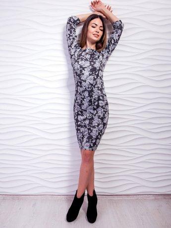 Оригинальное приталенное платье из принтованной ткани. Арт.2455