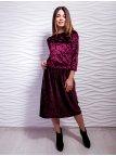 Комплект: классическая велюровая кофта + юбка с плиссировкой. Арт.2423