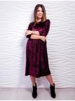 Элегантное велюровое платье с плиссировкой. Арт.2424