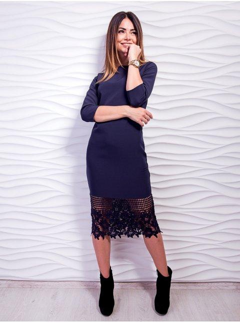 Нарядное платье с красивым дорогим кружевом по низу. Арт.2442