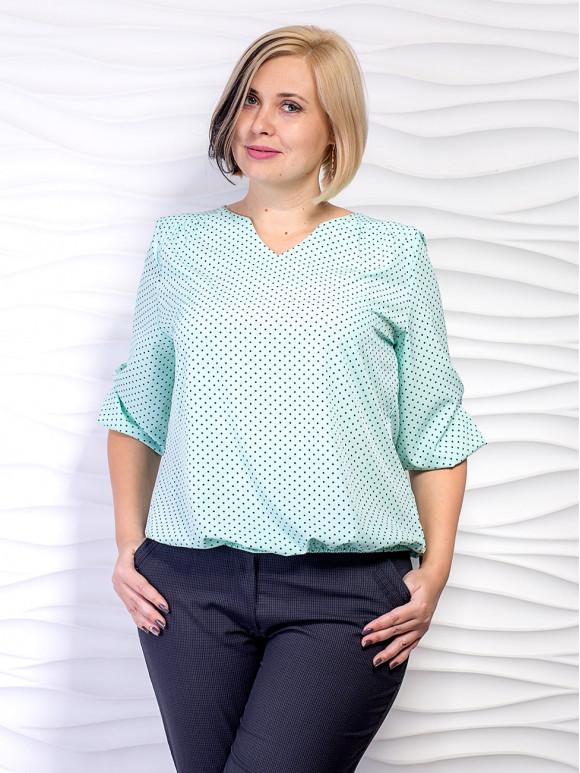 блуза большого размера в горошек фото