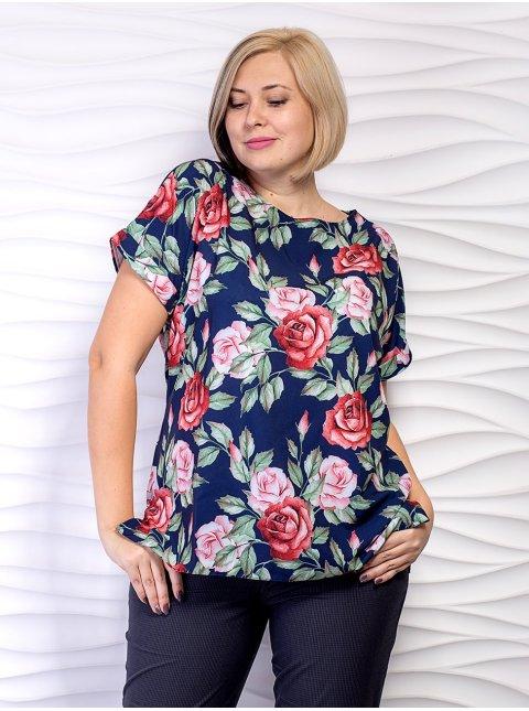 Легкая блуза батал с цветочным принтом. Арт.2380
