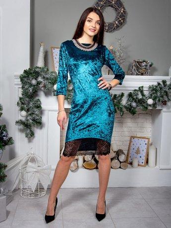 Нарядное велюровое платье с кружевом по низу. Арт.2559