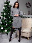 Модное платье в клетку с полукруглым низом и удлинённой спинкой. Арт.2558