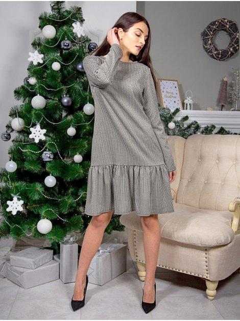 Трендовое платье А-силуэта с рюшей по низу. Арт.2579