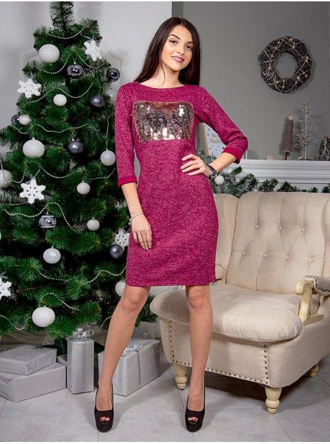 Модное платье, декорированное двухсторонними пайетками. Арт.2439