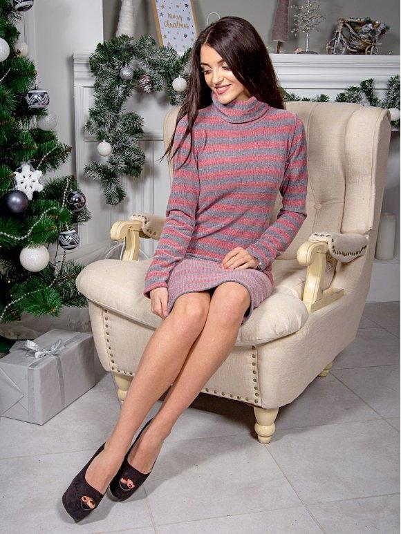 Тёплое платье из мягкого трикотажа в полоску. Арт.2572