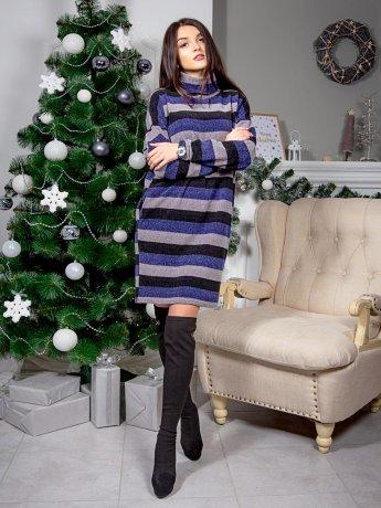 Тепла сукня оверсайз в смужку, з хомутом і кишенями. Арт.2567