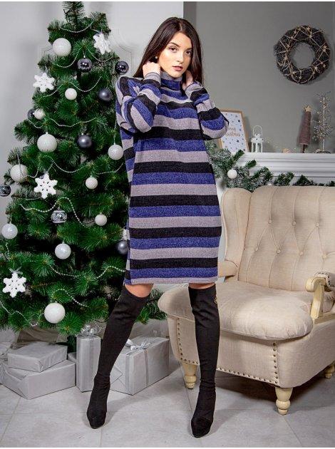 Теплое платье оверсайз в полоску с хомутом и карманами. Арт.2567