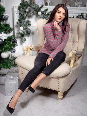 Теплий светр з м'якого смугастого трикотажу. Арт.2573