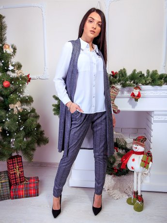 Комплект: удлиненный жилет без рукавов + стильные брюки с карманами. Арт.2537