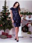 Изумительное комбинированное платье из велюра с пайетками. Арт.2584