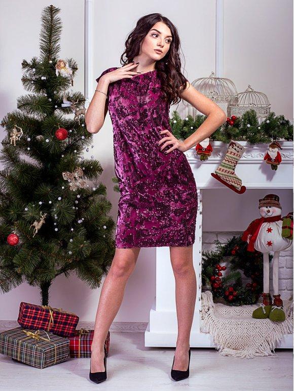 велюровое платье с пайетками фото