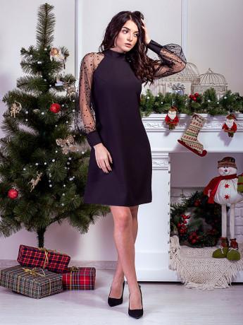 черное платье с рукавом сеточкой фото