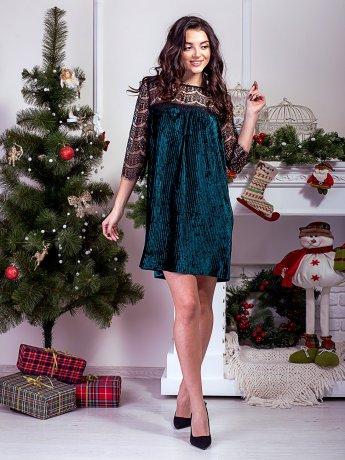 Нарядное велюровое платье с рукавами и кокеткой из кружева. Арт.2589