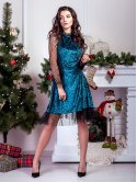 Шикарное велюровое платье с рукавами и рюшей из сеточки в горошек. Арт.2585