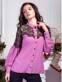 Эффектная блуза с вставками из дорогого кружева. Арт.2564