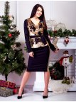 Костюм: нарядная комбинированная блуза на запах с поясом + юбка-карандаш с вставками из пайеток. Арт.2593