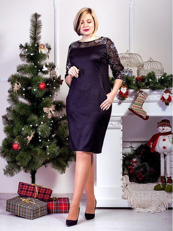 черное платье большого размера с рукавами, вышытыми пайетками фото
