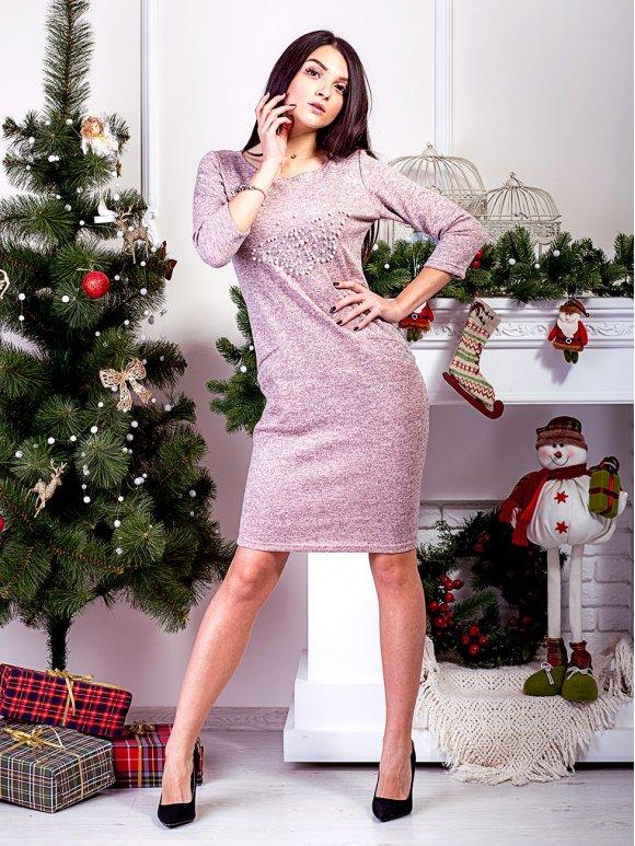 Женственное платье с карманами и рисунком из жемчуга. Арт.2446