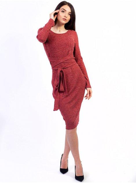Красивое фактурное платье с оригинальным поясом. Арт.2641