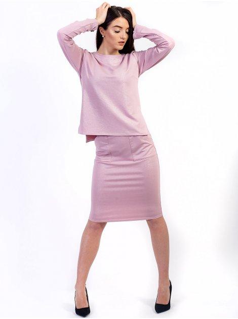 Костюм: стильная кофта с удлиненной спинкой + юбка с карманами. Арт.2640