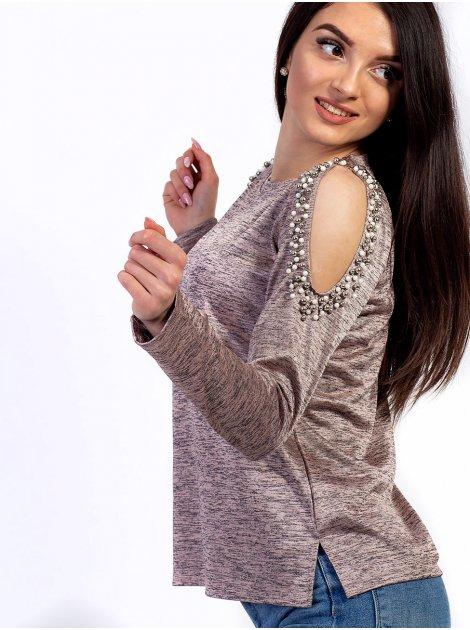 Очаровательная кофта с вырезами на плечах, украшенными жемчугом. Арт.2627