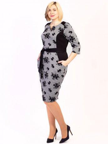Элегантное платье size+ с узором, удобными карманами и поясом. Арт.2653