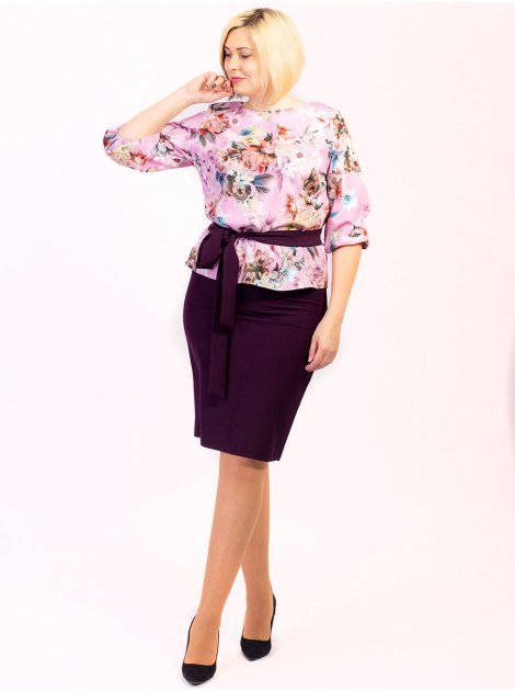 Костюм size+: женственная блуза в цветок + стильная юбка+пояс. Арт.2616