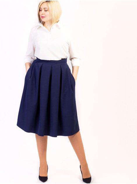 Красивая свободная юбка size+ с удобными карманами. Арт.2618