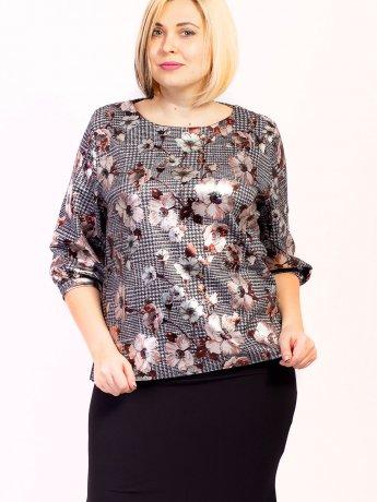Очаровательная блуза size+ из принтованной ткани в цветок. Арт.2624