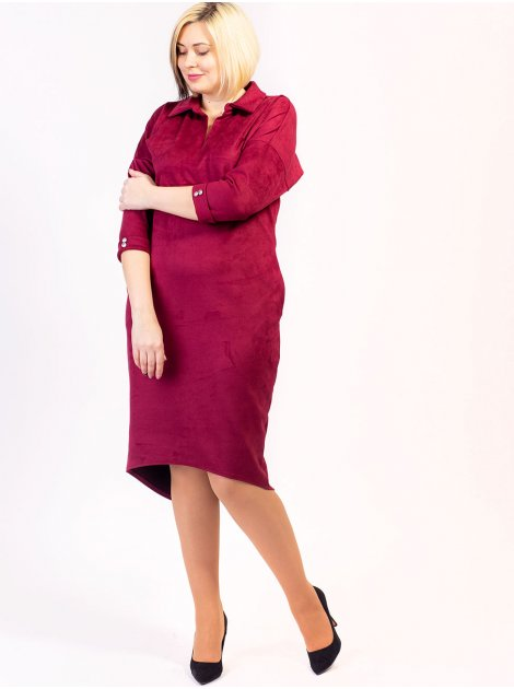 Элегантное замшевое платье size+ с красивыми. пуговицами на рукавах. Арт.2606