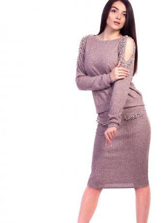 Костюм: шикарна кофта з вирізами на плечах, прикрашеними перлинами + приталена спідниця з кишенями. Арт.2604