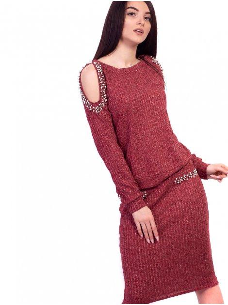 Костюм: шикарная кофта с вырезами на плечах, украшенными жемчугом + приталенная юбка с карманами. Арт.2604