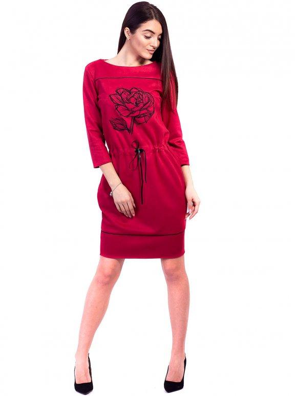 Шикарное замшевое платье с красивой вышивкой. Арт.2610