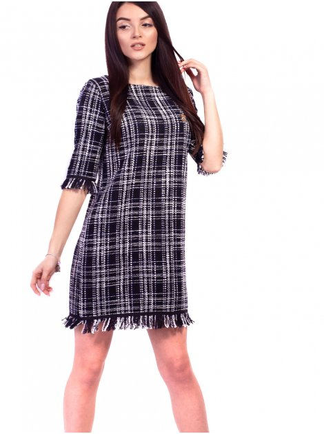 Элегантное платье в клетку с брошью. Арт.2600