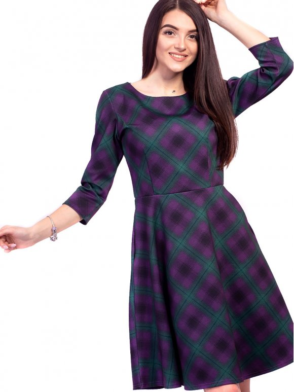Восхитительное платье в цветную клетку с карманами. Арт.2622