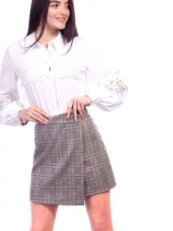 Модная короткая юбка на запах в клетку. Арт.2632