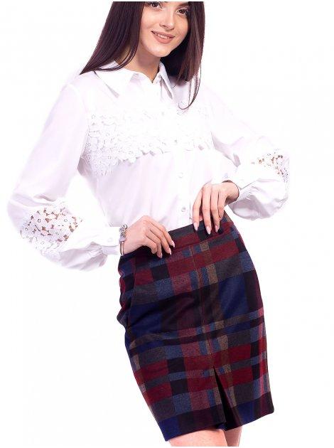 Очаровательная юбка в клетку со складкой спереди. Арт.2613
