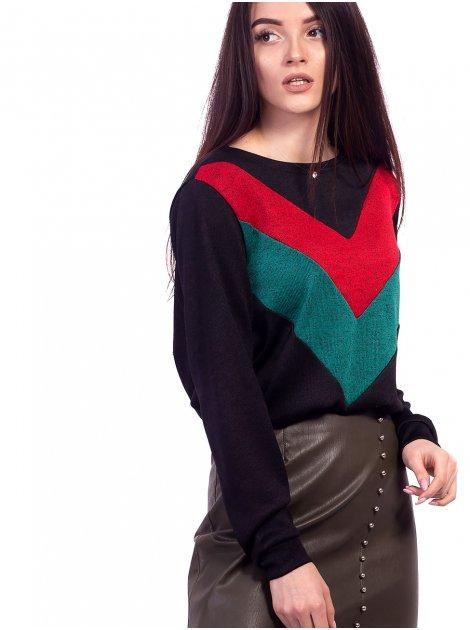 Модный оверсайз джемпер с цветными вставками. Арт.2652