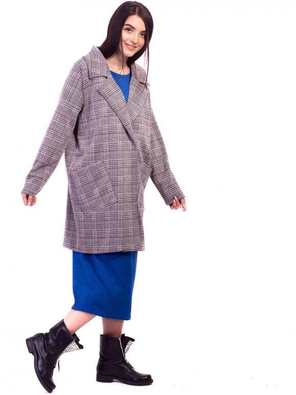 Трендовый клетчатый кардиган оверсайз с карманами. Арт.2658