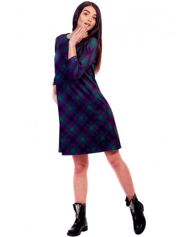 Платье А-силуэта в цветную клетку фото