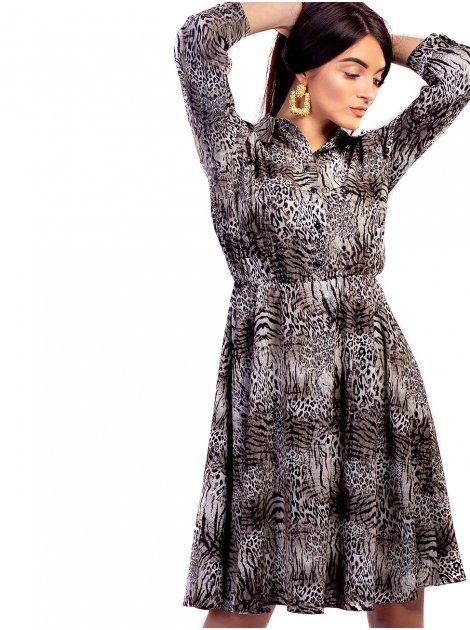 Легкое платье с животным принтом 2654